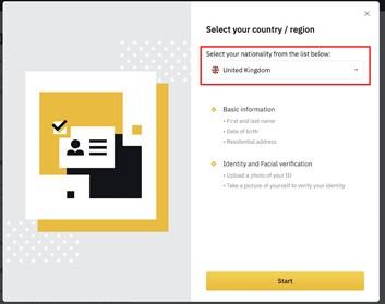 Binance nationaliteit kiezen